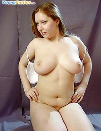 Full schoolgirl massages her huge heavy jugs